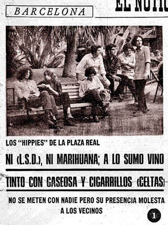 Los hippies de la Plaza Real,  retratados en El Noticiero Universal (24/07/1970).